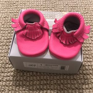 Freshly Picked Neon Pink baby moccasins